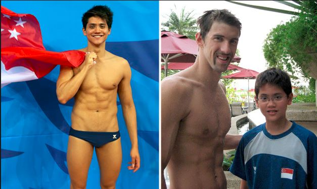 File pic of Schooling with Michael Phelps in 2008
